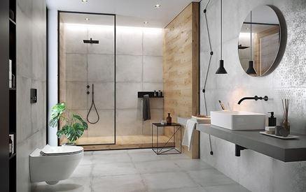 Betonowa łazienka z elementami drewna