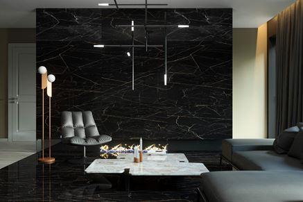 Eklektyczny salon z czarnym marmurem