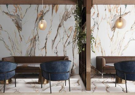Wnętrze restauracyjne w wielkoformatowej płycie Cerrad Calacatta Gold