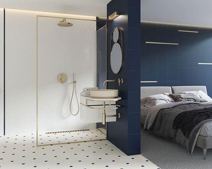 Sypialnia z łazienką utrzymana w klimacie glamour