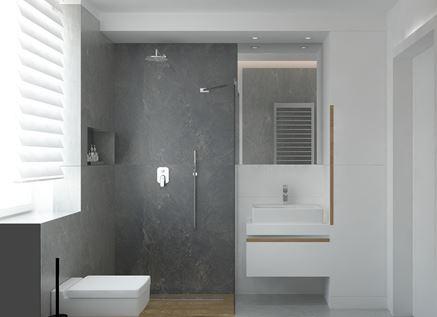 Łazienka z prysznicem i oknem