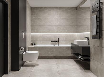 Szara łazienka z płytkami z wzorem fal