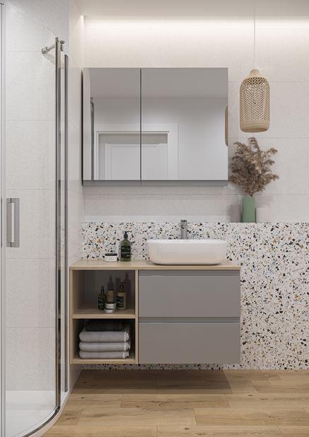 Jasna łazienka z szafką Cersanit Moduo