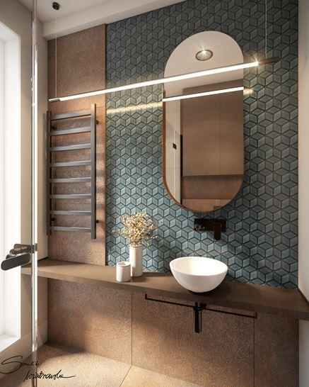 Mozaika i imitacja metalowego panelu