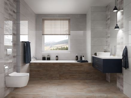 Nowoczesna łazienka z oknem w brązie i szarościach Azario Grandes