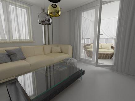 Salon z wyjściem na balkon