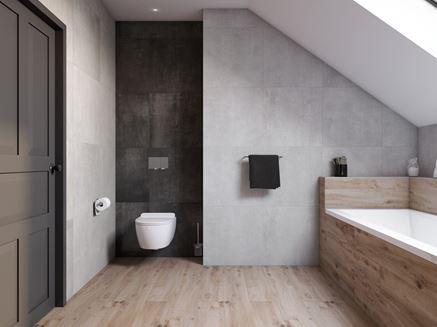 Beton i drewno w łazience na poddaszu