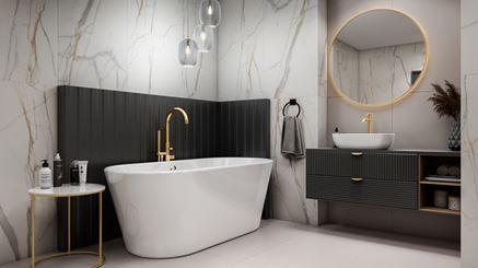 Łazienka w biało-złotym marmurze z wanną wolnostojącą