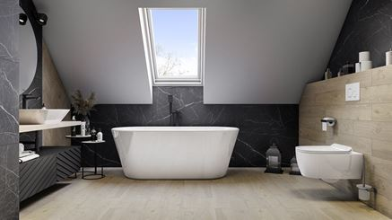 Jasne drewno i czarny kamień w łazience na poddaszu