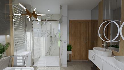 Luksusowa łazienka z białym marmurem