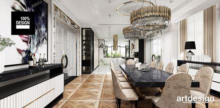 Jadalnia glamour z eleganckim marmurowym stołem