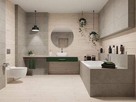 Aranżacja łazienki w jasnym drewnie z betonowymi akcentami
