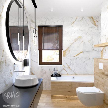 Drewno i kamień w modnej łazience