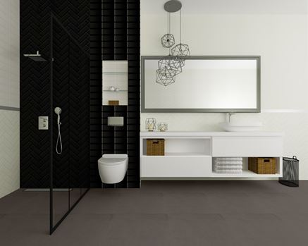Łazienka pikowana, biało-czarna