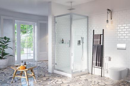 Łazienka z patchworkową podłogą i kabiną Excellent 600