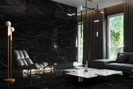 Salon z czarną, marmurową ścianą