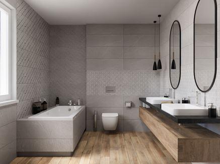 Szarość i drewno jako pomysł na każdą łazienkę