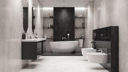 Szara łazienka z czarnym wykończeniem w kamieniu