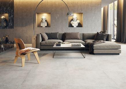 Aranżacja salonu w betonowych szarościach