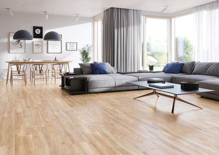Beżowe drewno w salonie - Cerrad Libero beige
