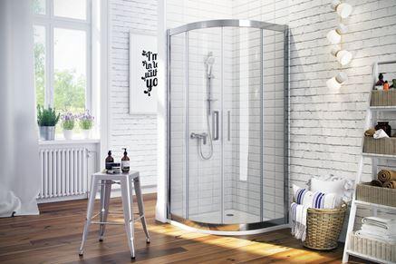 Kabina Excellent 600 i ceglasta ściana w łazience