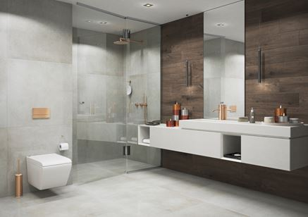 Nowoczesna łazienka z betonowymi płytkami Cerrad Lukka