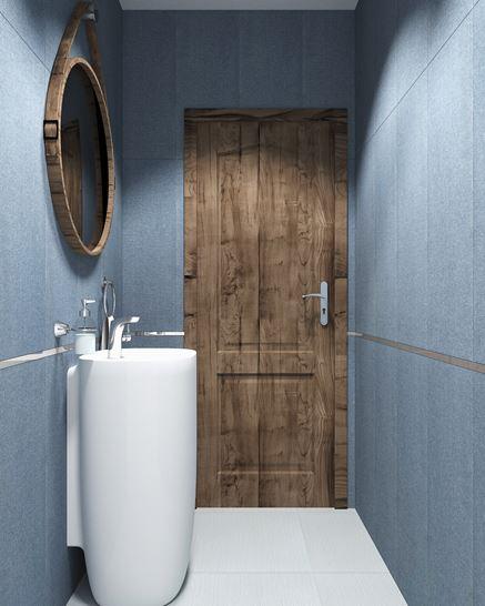Granatowa łazienka z drewnianymi akcentami