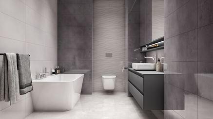 Aranżacja biało-szarej łazienki Azario Oxid