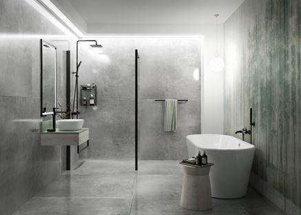 Wielkoformatowy beton w industrialnej łazience