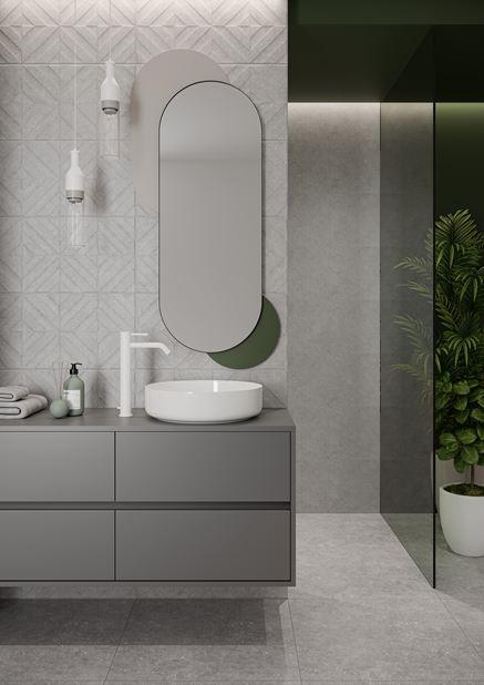 Szara łazienka ze strukturą