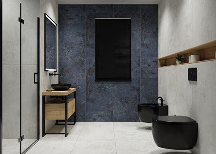 Nowoczesna łazienka w szarej kolorystyce z czarną ceramiką