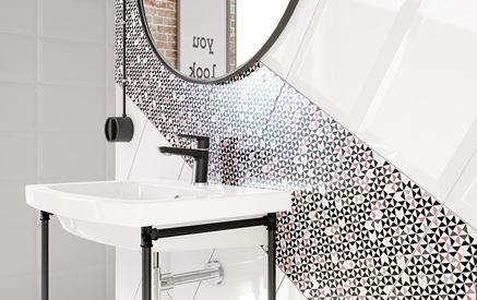 Detal płytki dekoracyjnej z geometrycznym wzorem