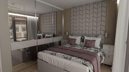 Sypialnia w stylu Hamptons z tapicerowanym zagłówkiem