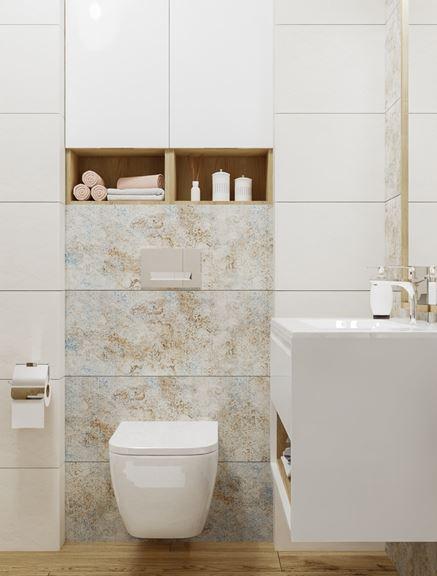 Strefa toaletowa wykończona w białej płytce