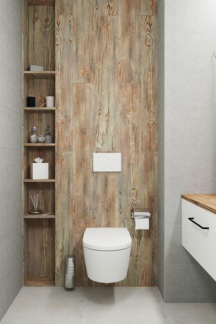 Strefa toaletowa z płytką drewnopodobną