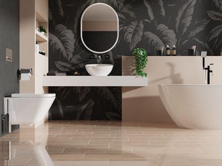 Stylowa łazienka z beżowymi płytkami i czarną tapetą
