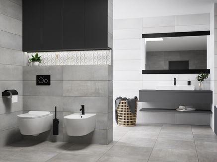 Szaro-biała łazienka w nowoczesnej aranżacji
