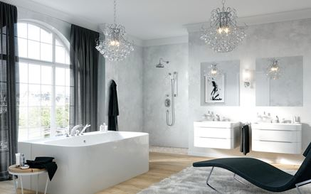 Łazienka glamour z kolekcją Kludi Adlon