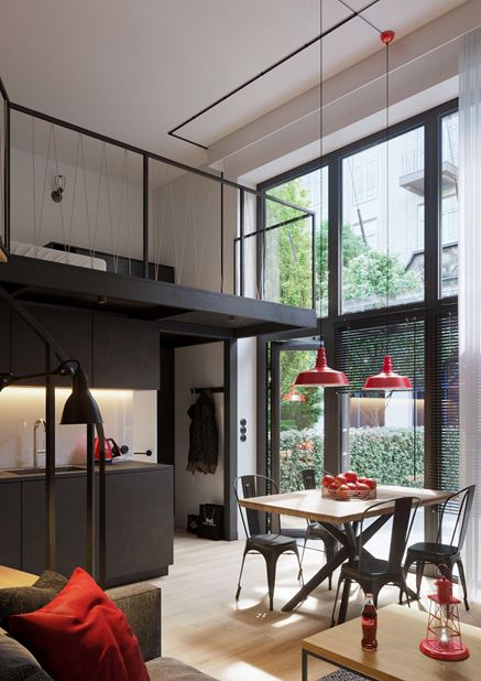 Dwupoziomowy loft z dużym oknem