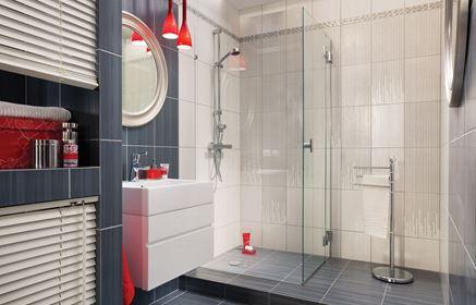 Aranżacja nowoczesnej łazienki w szarościach z dodatkiem czerwieni