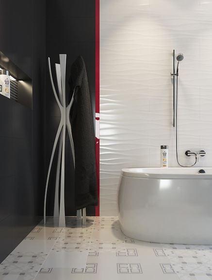 Struktura i dekory w czarno-białej łazience
