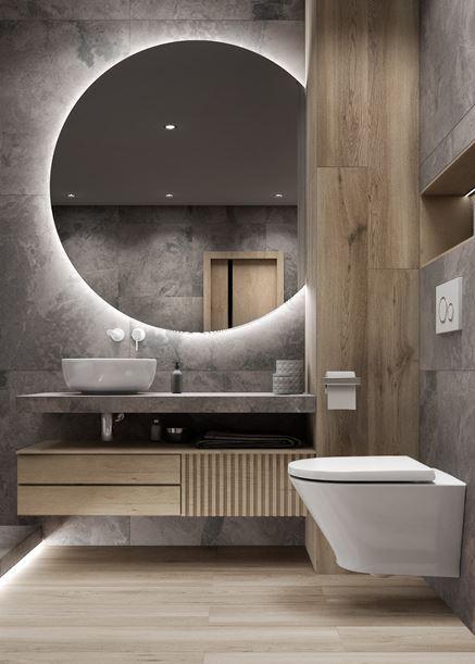 Szary kamień Azario Damario w łazience z drewnem