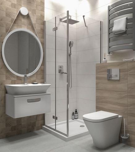 Mała łazienka w bloku w projekcie BLU