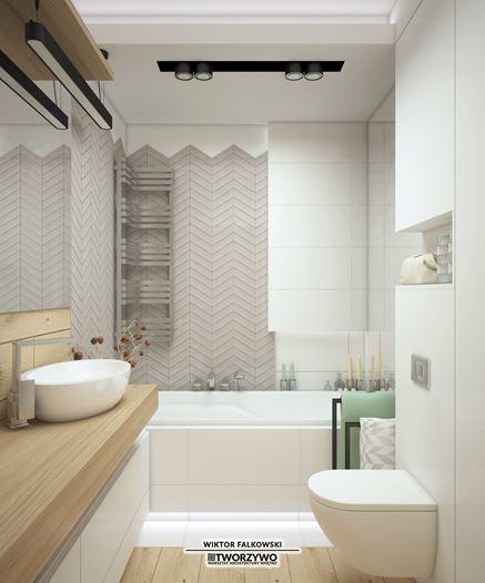 Skandynawska łazienka z modną łazienką