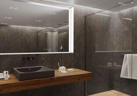Stylowa łazienka z płytami Tinware w kolorze wenge