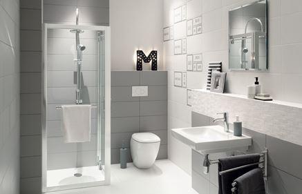 Biało-szara łazienka z mała kabiną prysznicową