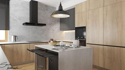 Barek śniadaniowy w nowoczesnej kuchni z drewnem