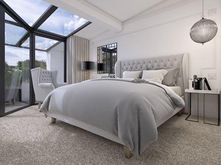 Biało-szara sypialnia i taras
