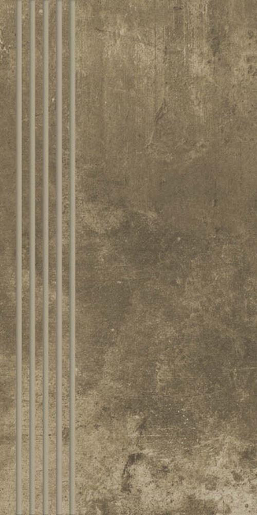 Paradyż Scratch Brown Stopnica Prosta Nacinana Mat.