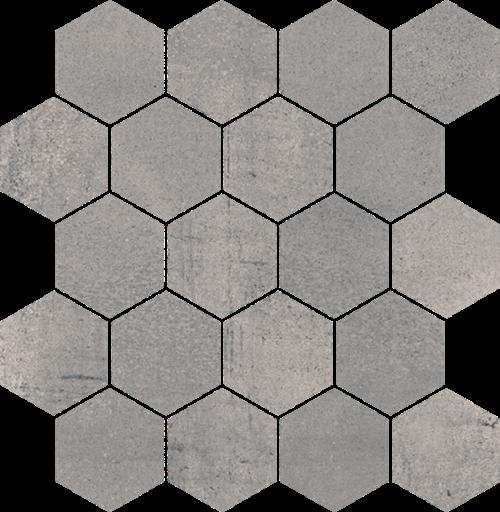 Paradyż Space Grafit Mozaika Cięta Hexagon Mat.
